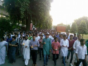 Candle Light vigil & Peace march by Jamia Students in the Campus against the Dadri Lynching