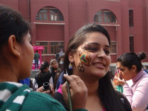 "Maitreyi College organised a face painting competition in association with ""World Culture Festival"""