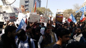 Thousands of student activists participated in a 'Chalo Delhi' rally demanding action in the suicide case of Rohith Vemula