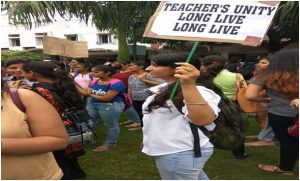 Teachers and students protest against Daulatram college governing body