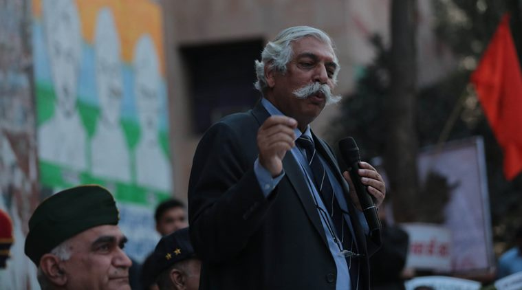 General GD Bakshi and other veterans address a gathering of ABVP supporters at the JNU in the capital New Delhi on wednesday. Express Photo by Tashi Tobgyal