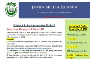 Jamia announces dates for admissions to B.Tech and B.Arch for the sessions 2017-18