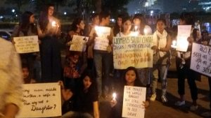 Students of Jesus and Mary College organizes a candle-light vigil on International Girl Child Day !