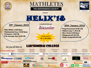 "HELIX'18: Annual Fest of ""MATHLETES"" the Mathematics Society of Lakshmibai College"