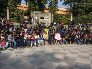 Hundred of students and teachers organizes a Public Meeting against the Bifurcation of Dyal Singh College