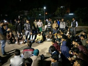 Jamia students Protest against hostel cancellation of two Kashmiri students