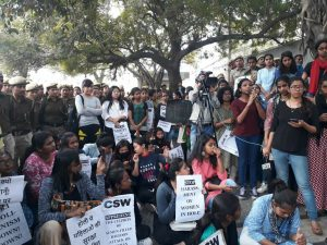 Balloon menace: Jesus and Mary College students protest against Holi hooliganism outside Police Headquarter