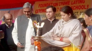 SMRITI IRANI LAYS FOUNDATION OF SEVEN SCHOOLS IN DELHI