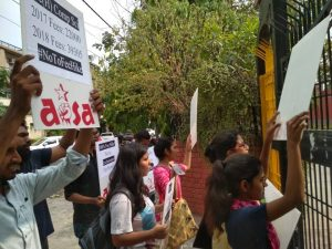 All India Students Association protests against the 100% Fee Hike in Shyama Prasad Mukherjee College